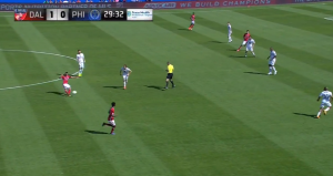 The Union grant Diaz too much space and he easily drops a ball over the back line.