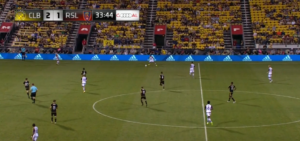 Extremely compact and narrow Columbus midfield.