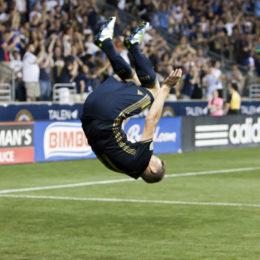 Herbers went head over heels after his goal against Columbus. Photo: Daniel Studio
