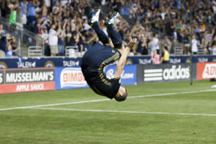 Herbers went head over heels after his goal against Columbus. Photo: Daniel Studio