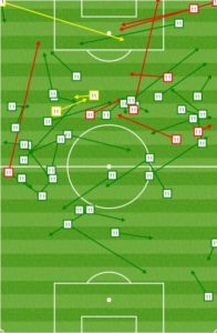 Morales in the first half vs SJ: Far from goal and drifting around.