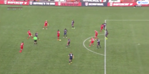 A pass through the center of midfield finds one Chicago player goalside of his man and two others with enough space to play a quick pass or collect and turn.