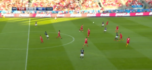 TFC high defensive line to squeeze out space in midfield.
