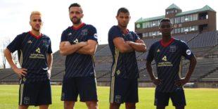 New Steel kit 2018 l-r Santi Moar, Brandon Allen, Omar Holness, Prosper Chiluya
