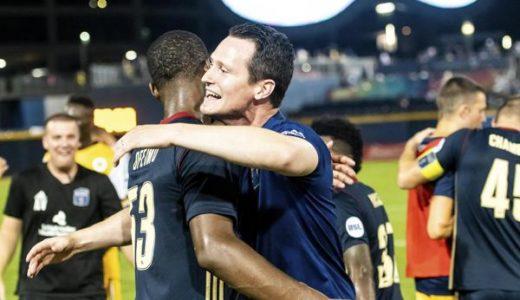 Coach Burke congratulates Ben Ofiemu after Bethlehem's win at Nashville Aug. 25th.