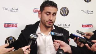 Bedoya postgame. Photo by 215Pix
