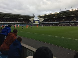 The author's view at The Den for Millwall-Ipswich. Not a bad seat in the bad house. (Photo: Dan Walsh)