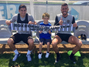Alejandro Bedoya and Haris Medunjanin with Ben Franklin Mitchell of Roxborough United Soccer Club (Photo by Jeffrey Mitchell)