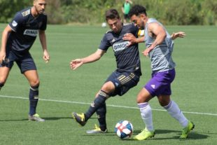 Bedoya and Medunjanin in preseason against Orlando, 2/12/19. (Photo: Jordan Culver-Pro Soccer USA)