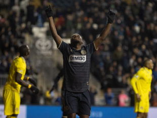 David Accam scores against Columbus. Photo by Ryan Griffith.