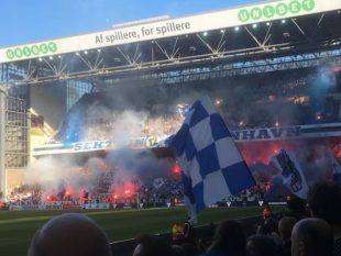 F.C. Copenhagen (a.k.a. F.C. København [FCK]),  supporters section, April 18, 2019. Attended by PSP's John Osborn.