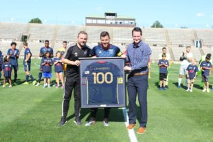 Head coach Brendan Burke, James Chambers, and assistant coach Steven Hogan. Courtesy Bethlehem Steel FC.