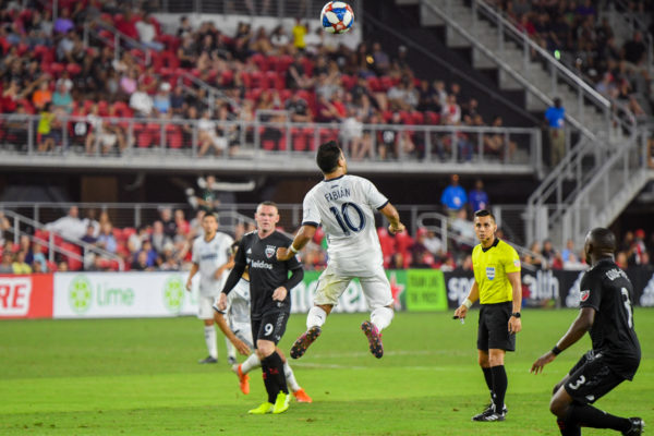 Marco Fabian jumps for a header allowing the Union to take a shot on goal.