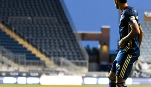 Bethlehem Steel's Captain, Matt Real checks out the field before playing the ball.
