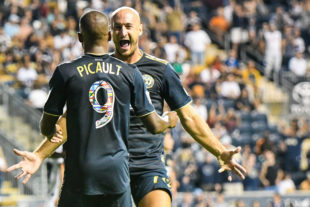 Aurelien Collin and Fafa Picault celebrate the goal by Andrew Wooten, assist by Fafa.
