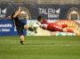 Goalkeeper for Navy, Ian Bramblett, blocks the shot taken by KEENAN O'SHEA.