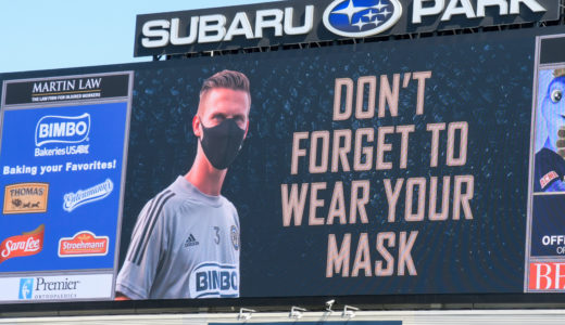 """""""Wear you mask"""" a reminder for all during the halftime portion of the game. A true sign of the pandemic that we are all a part of."""
