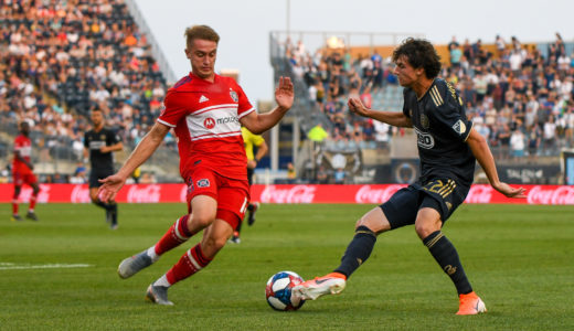 Brenden Aaronson takes on of the Chicago Fire.