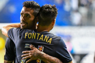 Matt Real and Anthony Fontana celebrate a goal in the friendly againt PUMA FC.