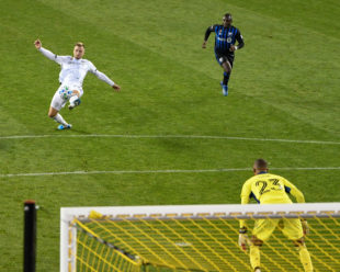Kacper lunges for a shot on goal against Diop. This was his 3rd attempt with his second one being our second goal.