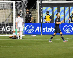 Kacper Przybylko celebrates his 5th goal of the Concacaf Cup while Atlanta United are in disbelief.