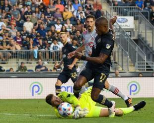 Earning a penalty kick, Sergio Santos is taken down on a goal scoring opportunity.