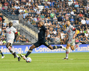 Sergio Santos strikes the ball into the net for one of three goals scored by the Union in the win over Toronto FC.